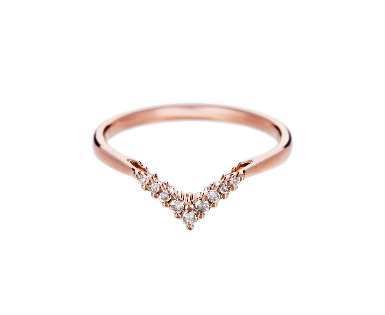 Anna Sheffield – Rose Gold Champagne Diamond Petit Chevron Ring In Regarding Most Current Diamond Chevron Rings (Gallery 1 of 15)