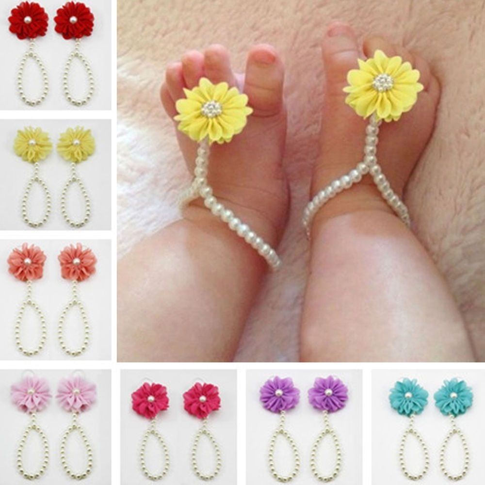 Baby Girls Barefoot Pearl Flower Foot Band Toe Rings Sandals Socks Within 2017 Pearl Toe Rings (View 3 of 15)