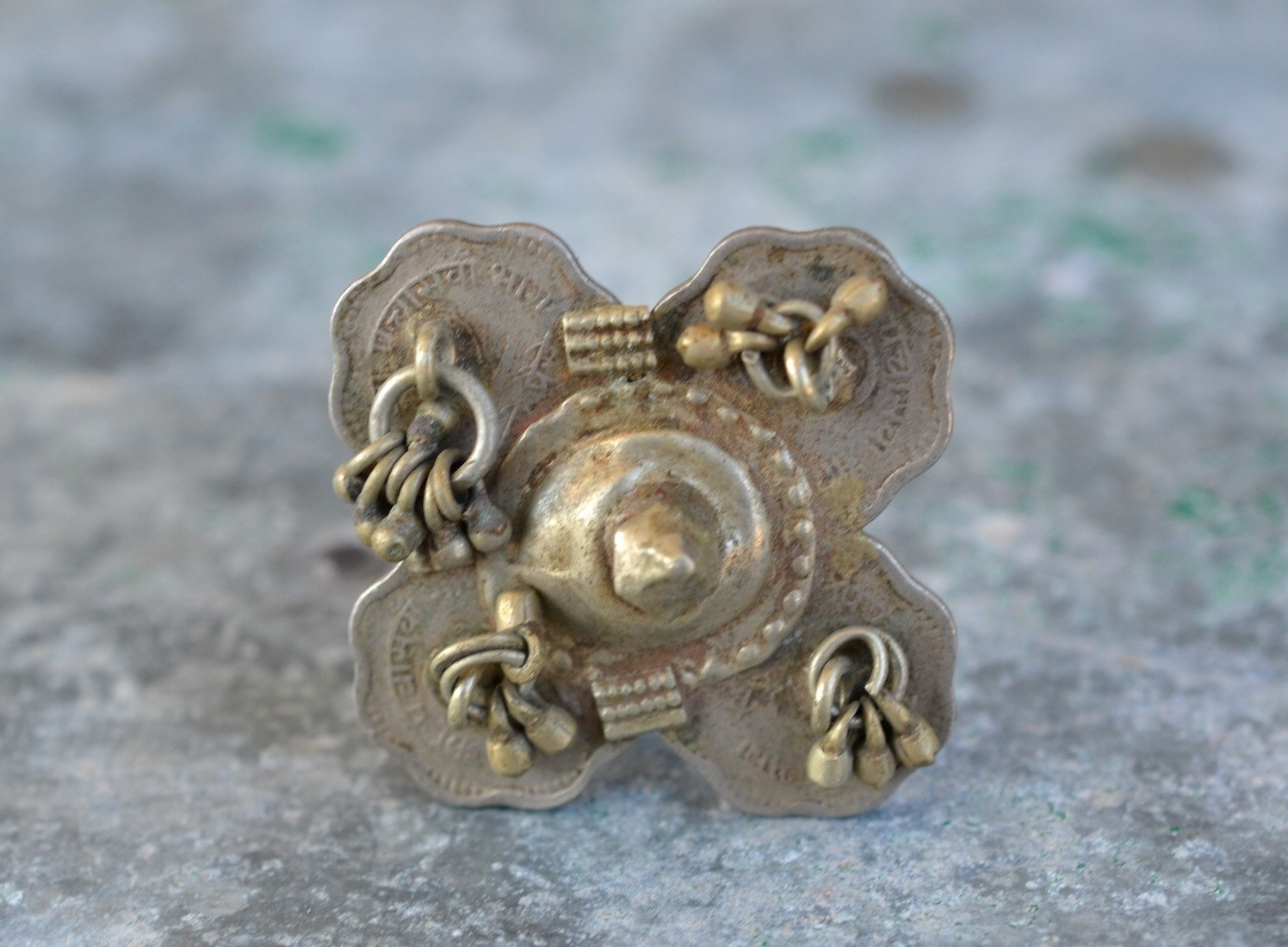 Banjara Gypsy Ring Coin Silver Indian Tribal Bells With Spike And Throughout Newest Toe Rings With Bells (View 5 of 15)