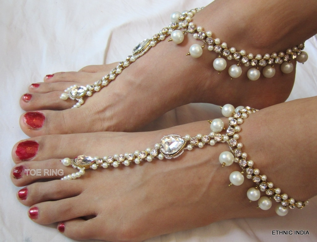 Beautiful Pearl Anklet | Anklets | Pinterest | Anklet Pertaining To Latest Pearl Toe Rings (View 5 of 15)