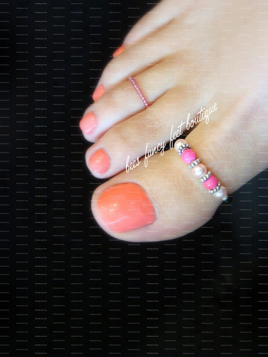 Big Toe Ring Combo – Pink Pearls – Silver – Stretch Bead Toe Rings With Most Popular Personalized Toe Rings (View 4 of 15)