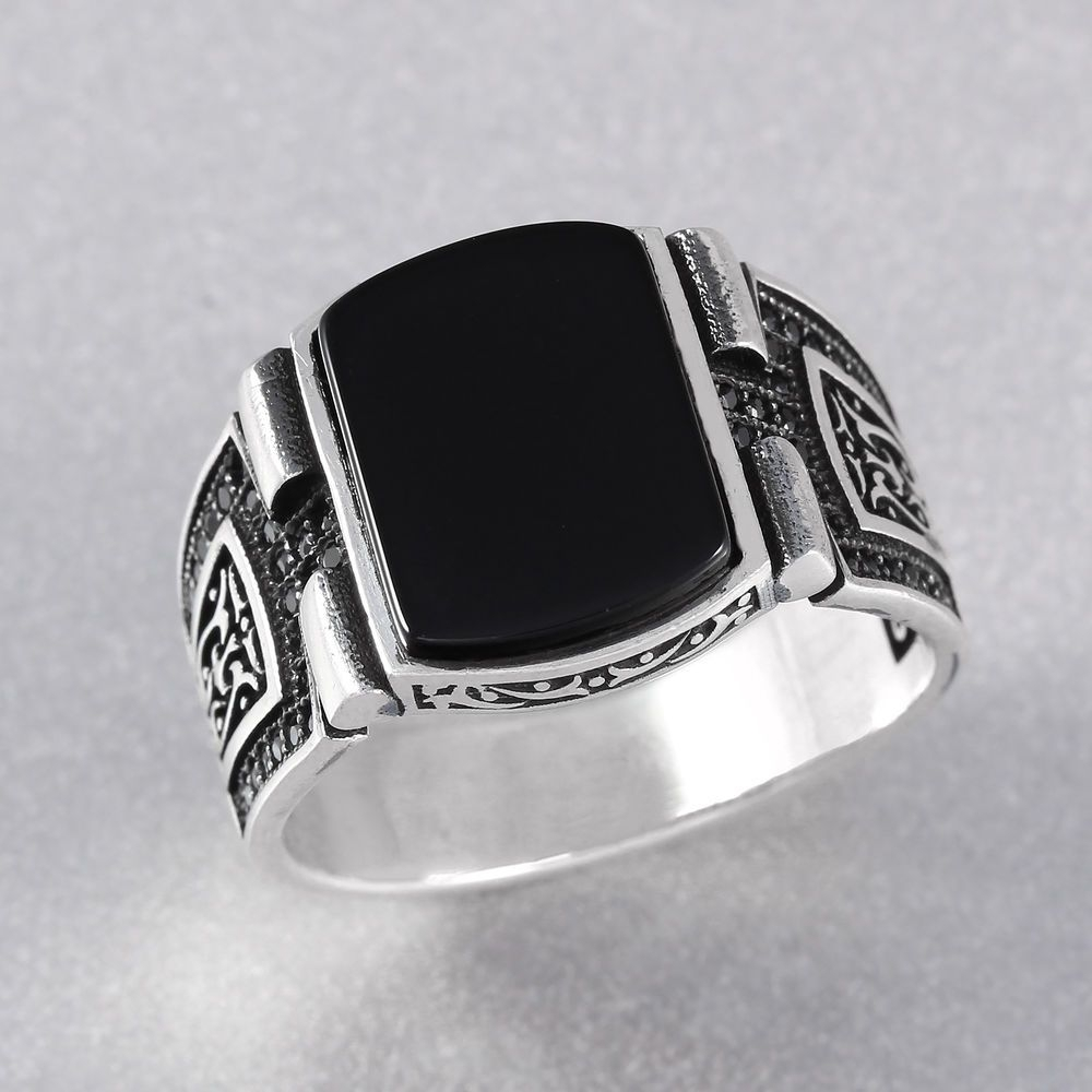 Black Onyx Stone 925 Sterling Silver Men's Ring Turkish Handmade W Inside 2017 Men's Chevron Rings (View 3 of 15)