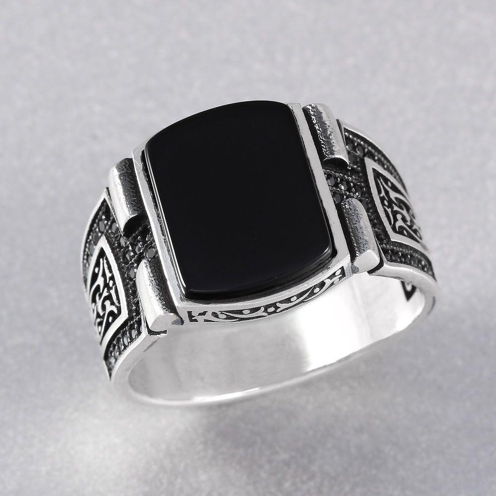 Black Onyx Stone 925 Sterling Silver Men's Ring Turkish Handmade W Inside 2017 Men's Chevron Rings (View 11 of 15)