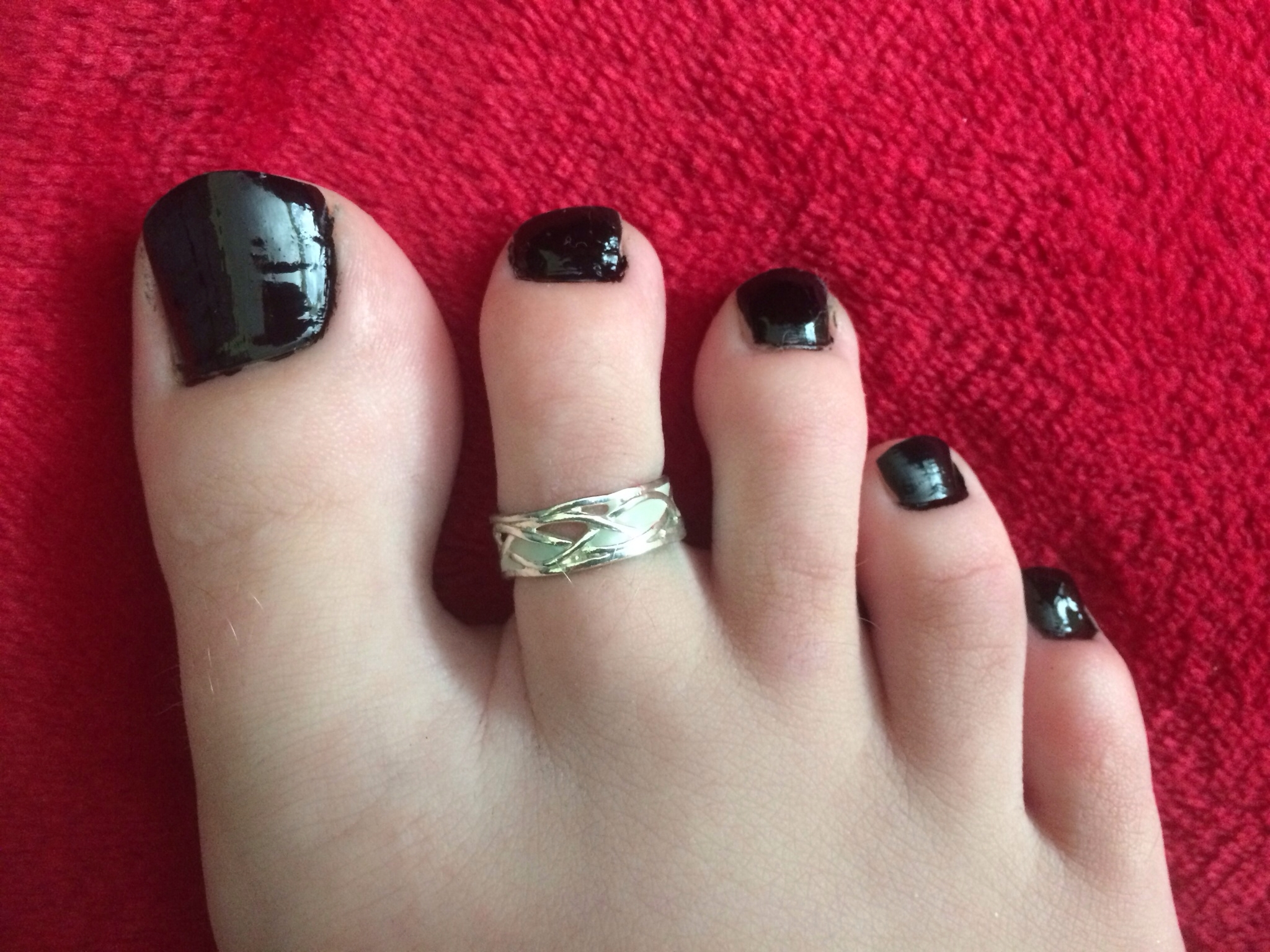 Black Painted Toes With My New Toe Ring  Nail Art | Peds With Current Mickey Mouse Toe Rings (View 2 of 15)