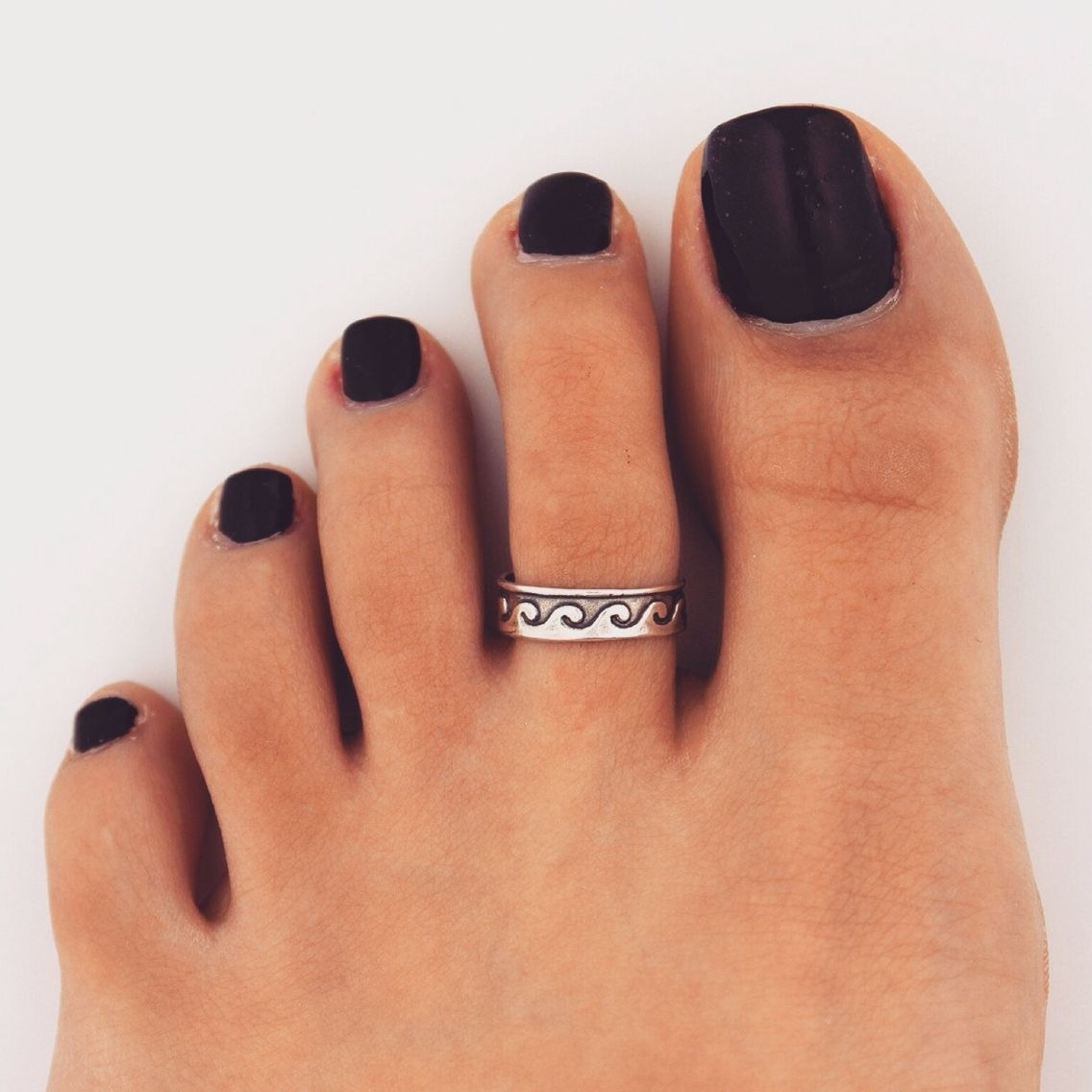 Black Toe Polish W/ Toe Ring | Shoes | Pinterest | Black Toe, Toe Pertaining To Most Popular Custom Toe Rings (View 3 of 15)