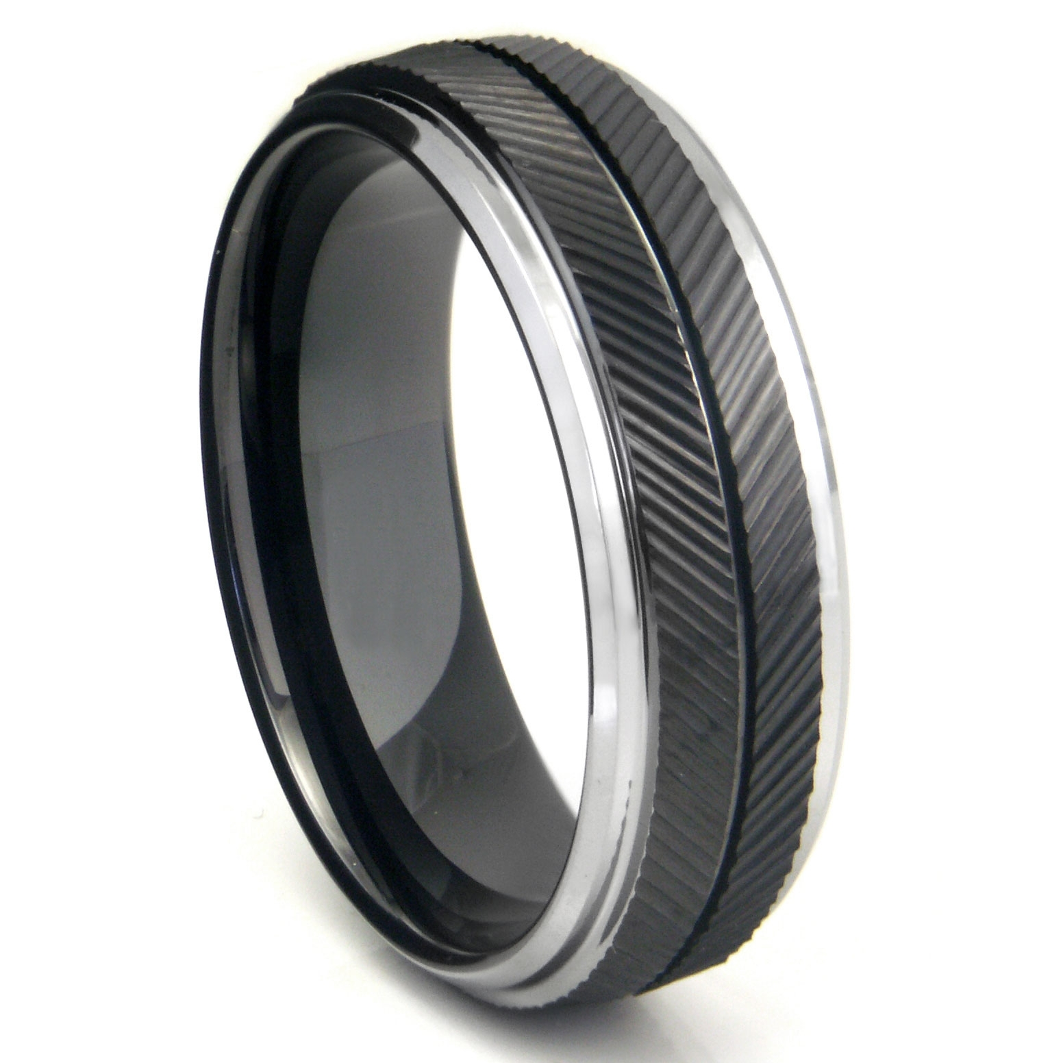 Black Tungsten Carbide Chevron Wedding Band Ring Intended For Most Recently Released Men's Chevron Rings (View 4 of 15)