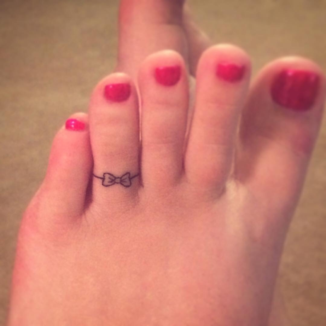 Bow Toe Ring Tattoo … | Pinteres… With Newest Permanent Toe Rings (View 15 of 15)