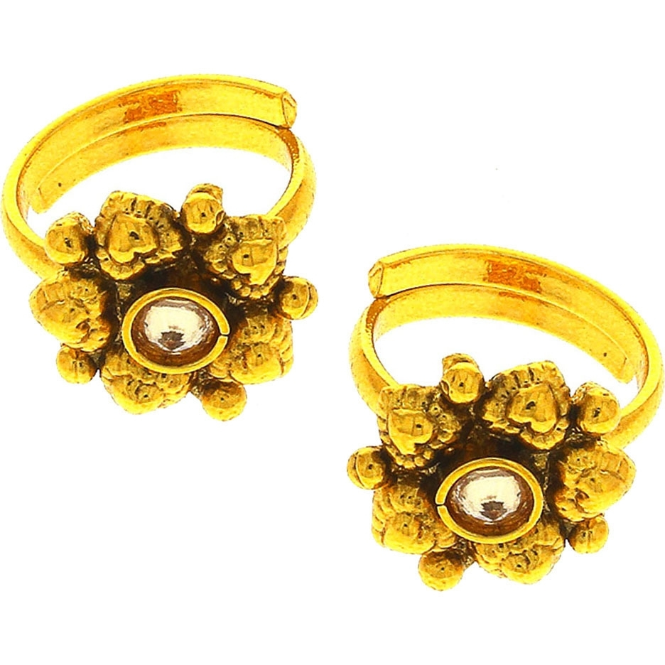 Buy Online Anuradha Art Exclusively Golden Finish Studded With With Regard To Most Recent Traditional Toe Rings (View 13 of 15)