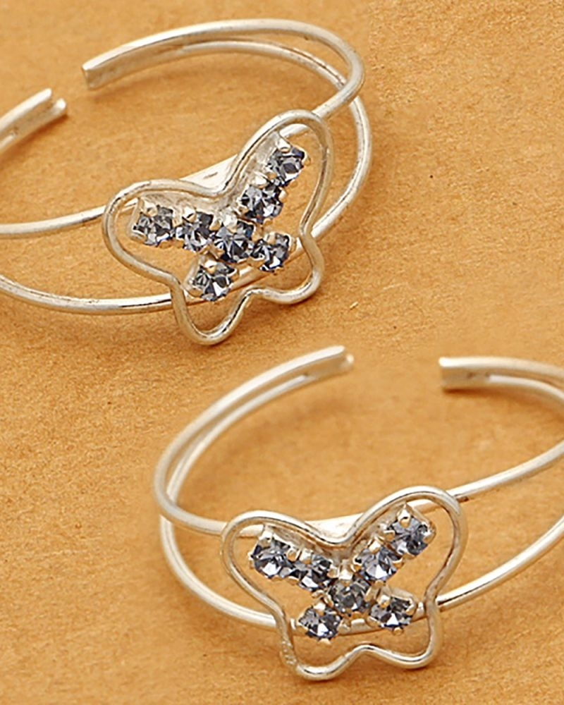 Buy Voylla Cz Studded Blue Butterfly Toe Rings Crafted From Within 2018 Butterfly Toe Rings (View 9 of 15)