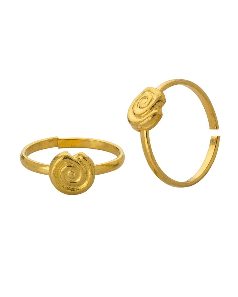Buy Voylla Gold Plated Toe Rings With Round Shape, Spiral Design In Current Toe Rings In Gold (View 3 of 15)