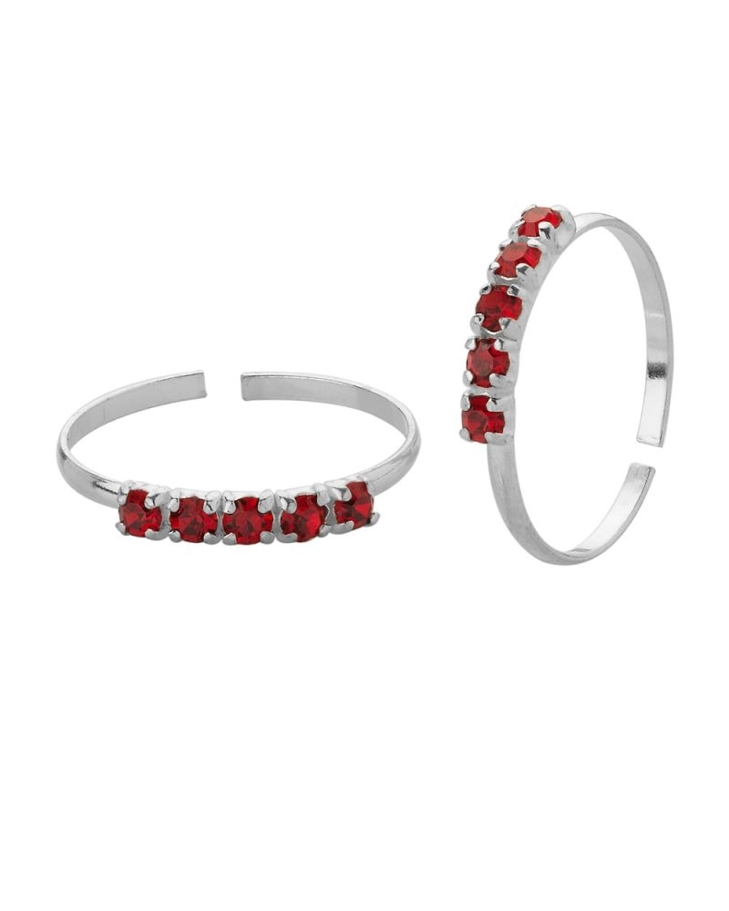 Buy Voylla Maroon Stone Encrusted Toe Rings In Sterling Silver In Best And Newest Voylla Toe Rings (View 7 of 15)