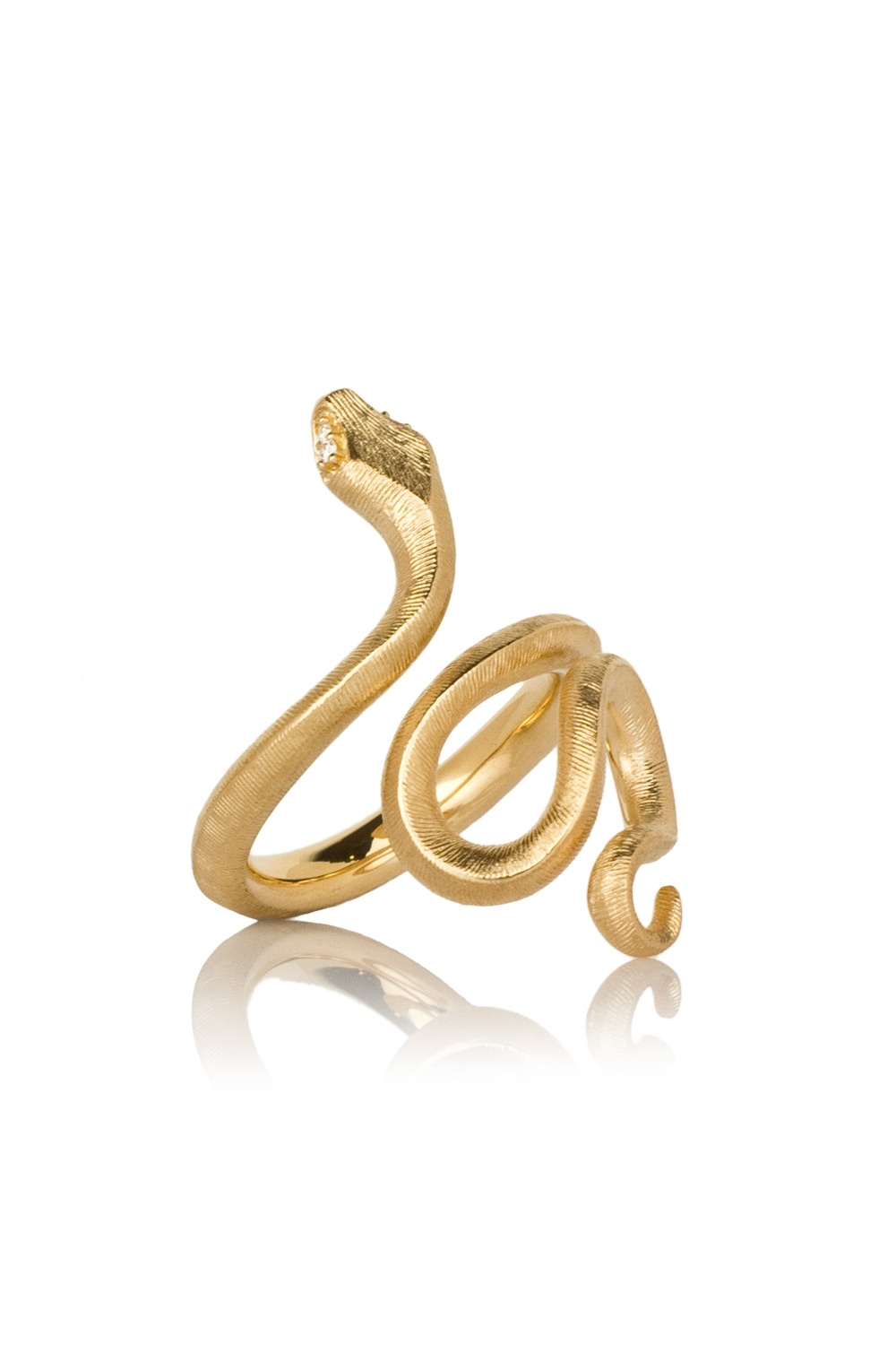 C | Medium Snake Ring In Yellow Gold With Diamonds | Laprendo With 2018 Snake Toe Rings (View 1 of 15)