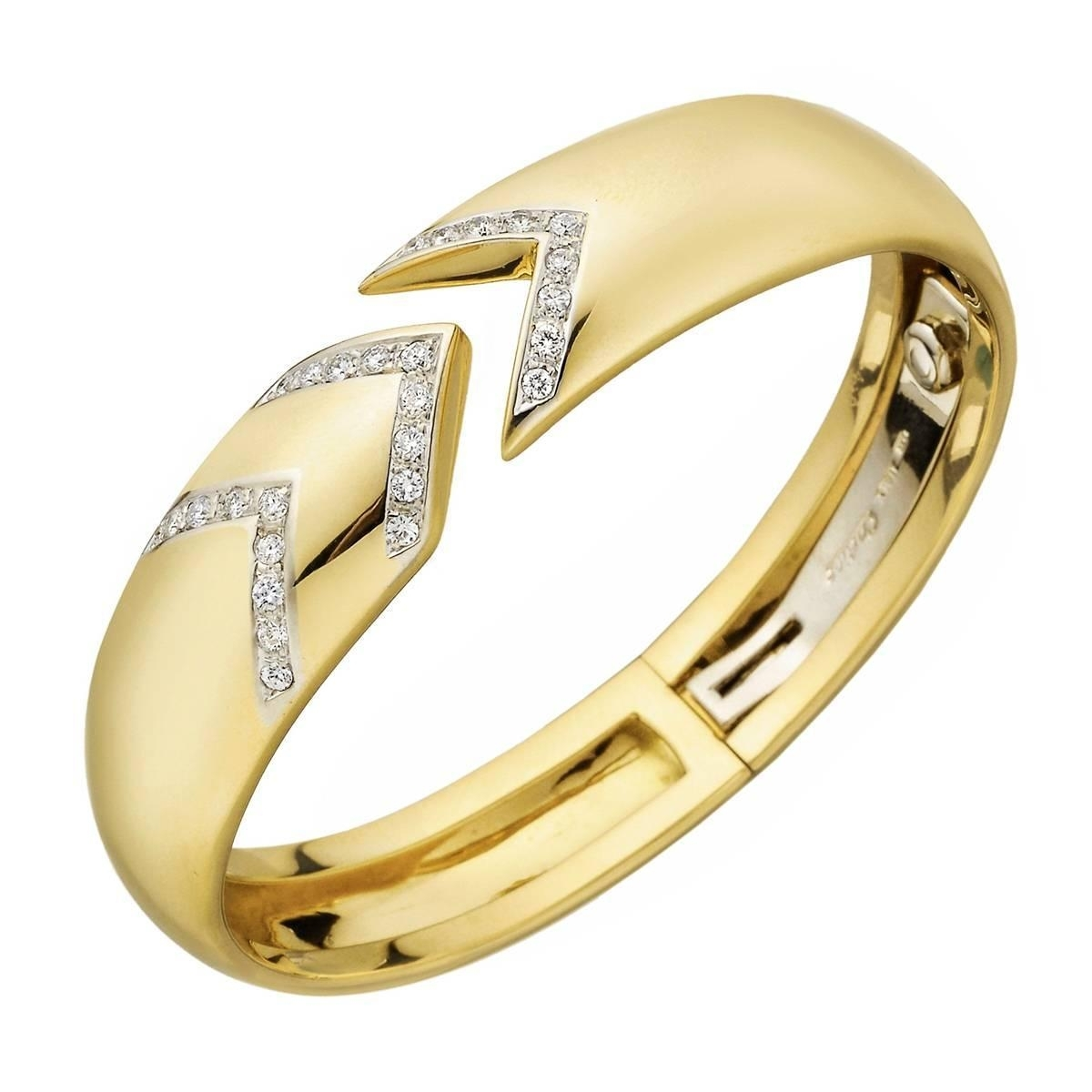 Cartier Diamond Yellow Gold Chevron Cuff Bracelet At 1stdibs Regarding Most Recent Chevron Engagement Rings (View 12 of 15)