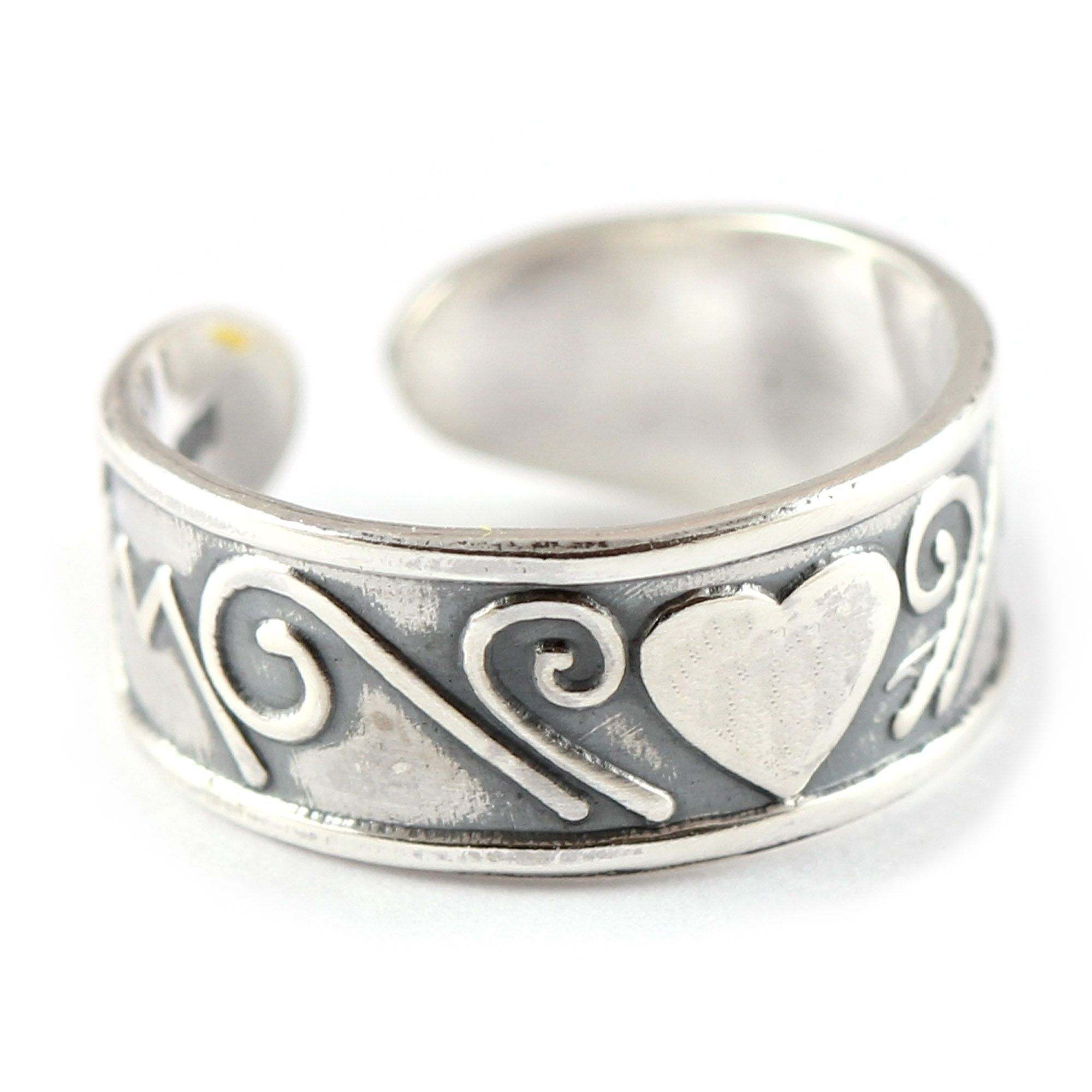 Charm School Uk > Sterling Silver Toe Rings > Heart & Swirls Design Throughout Most Popular Heart Toe Rings (View 7 of 15)