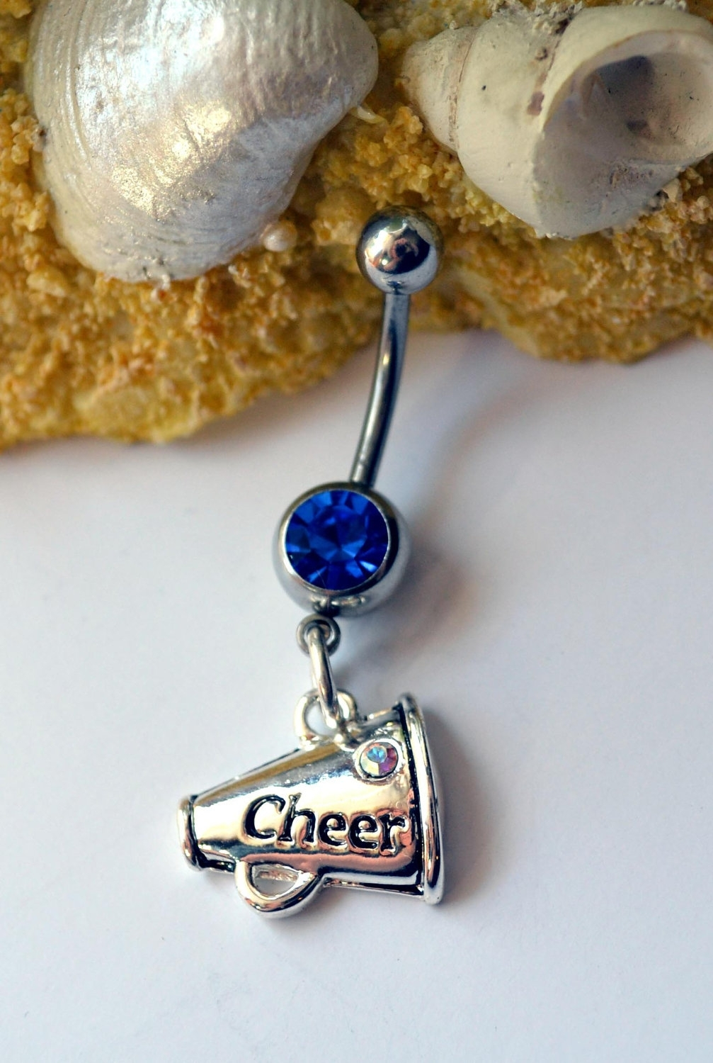 Cheerleader Belly Button Ring – Cheerleader Navel Ring – Silver With 2018 Chevron Belly Button Rings (View 10 of 15)