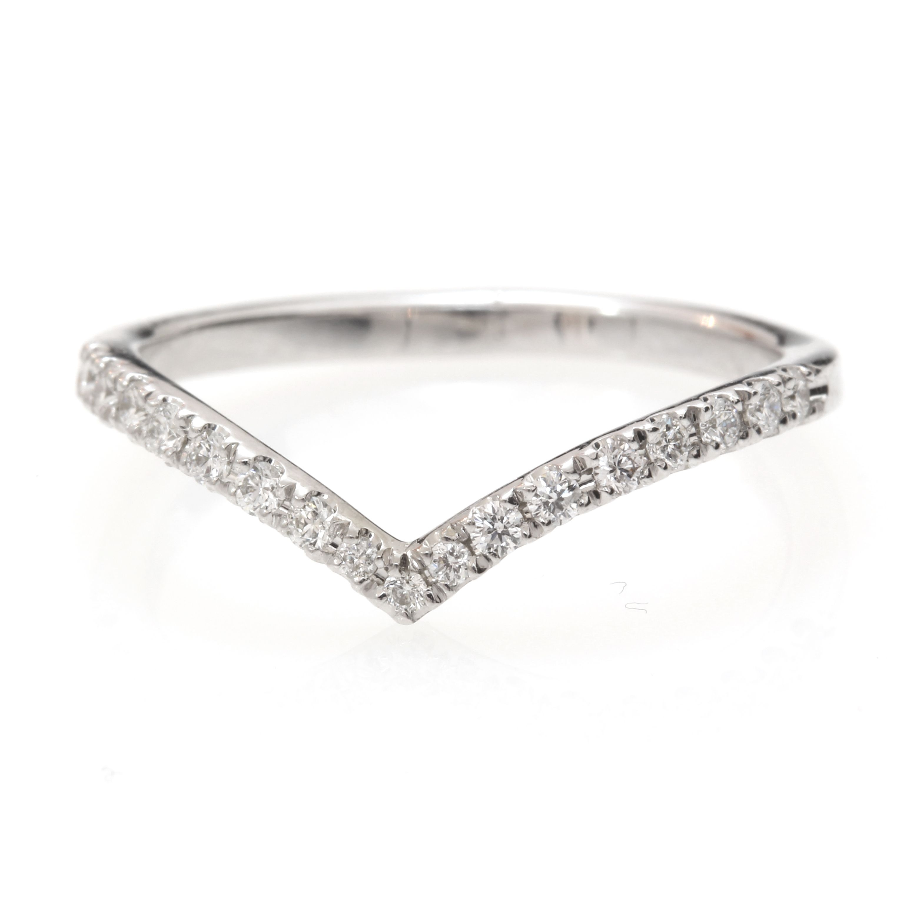 Chevron Diamond Ring, Diamond V Ring With Pave Diamonds, Diamond In Latest Chevron Style Diamond Rings (View 8 of 15)