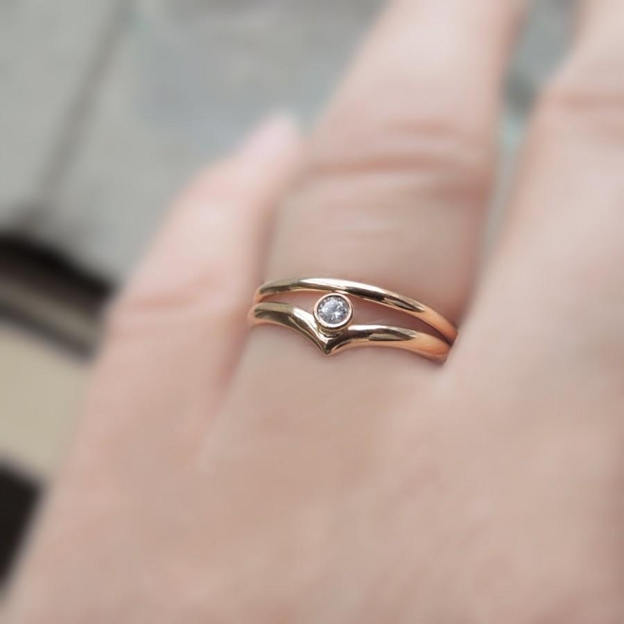Chevron Engagement Ring Set – Wedding Set – Eco Friendly In Most Recent Chevron Band Rings (View 4 of 15)