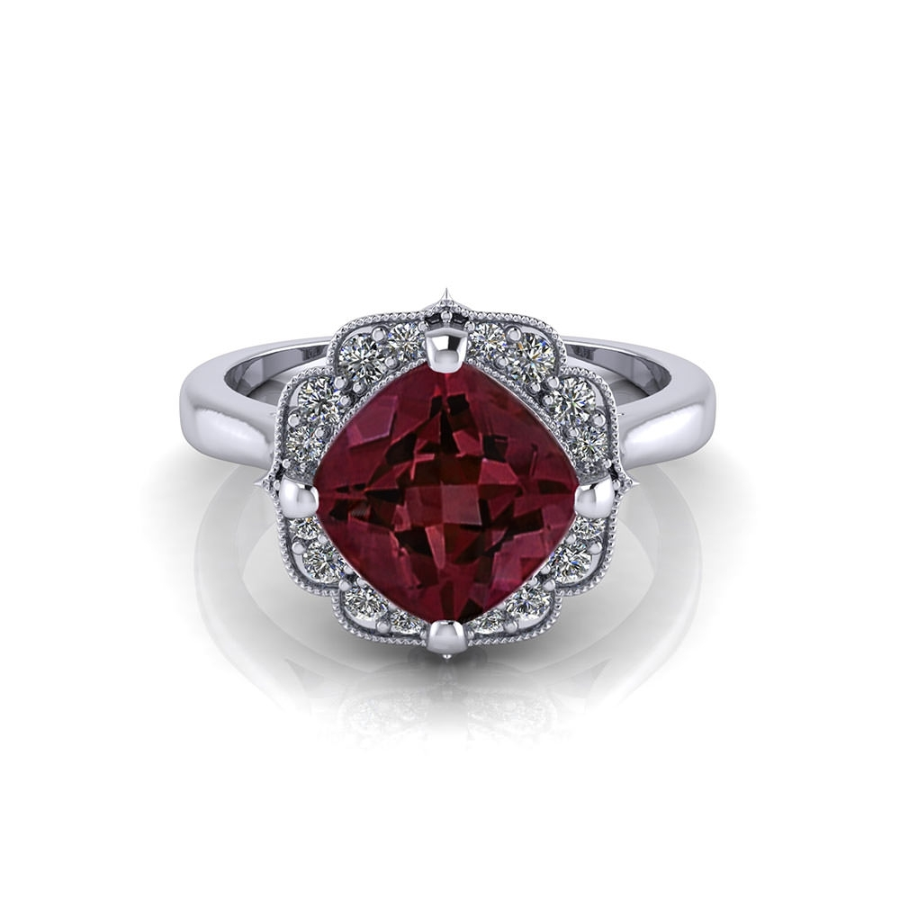 Chevron Halo Garnet Ring – Jewelry Designs In Most Recently Released Chevron Mothers Rings (View 10 of 15)