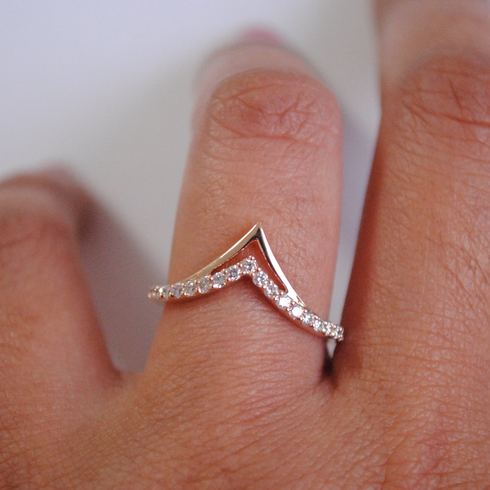 Chevron Stackable Bridal 14K Gold And Diamond W | Discovered Pertaining To 2018 Chevron Finger Rings (View 5 of 15)