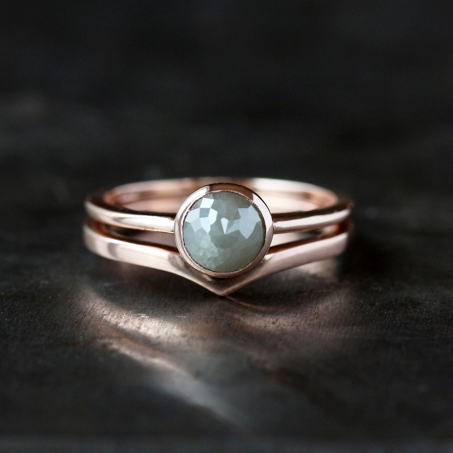Chevron Wedding Band, 14K Rose Gold Wedding Ring, Contour Band For Current Chevron Emerald Rings (View 9 of 15)