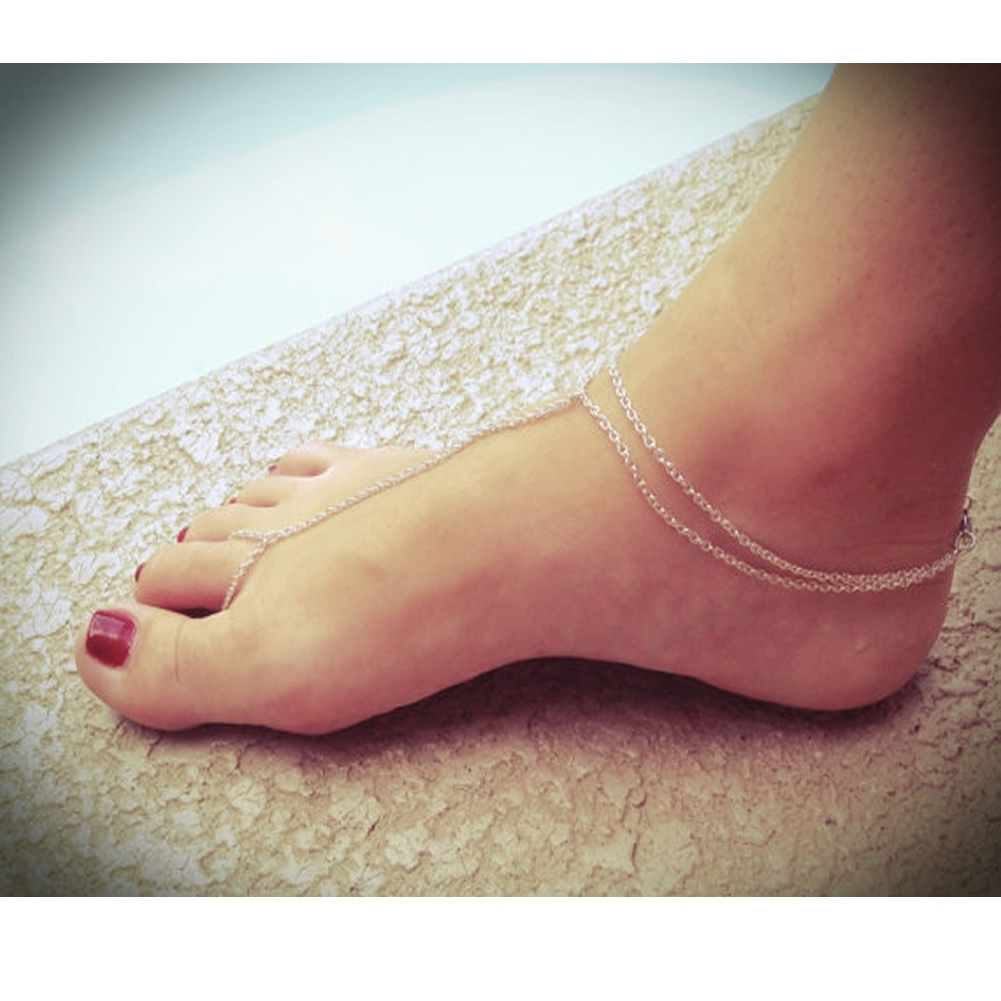 Chic Gold Silver Plated Toe Ring Ankle Bracelet Chain Link Foot Inside 2018 Ankle Bracelet Toe Rings (Gallery 6 of 25)