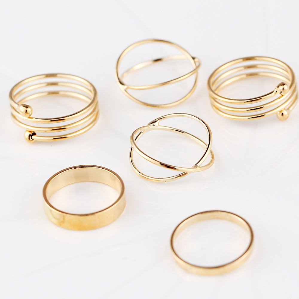 Composite 6 Pcs/set Hot Korea Personality Retro Alloy Toe Ring For Current Toe Rings In Gold (View 4 of 15)
