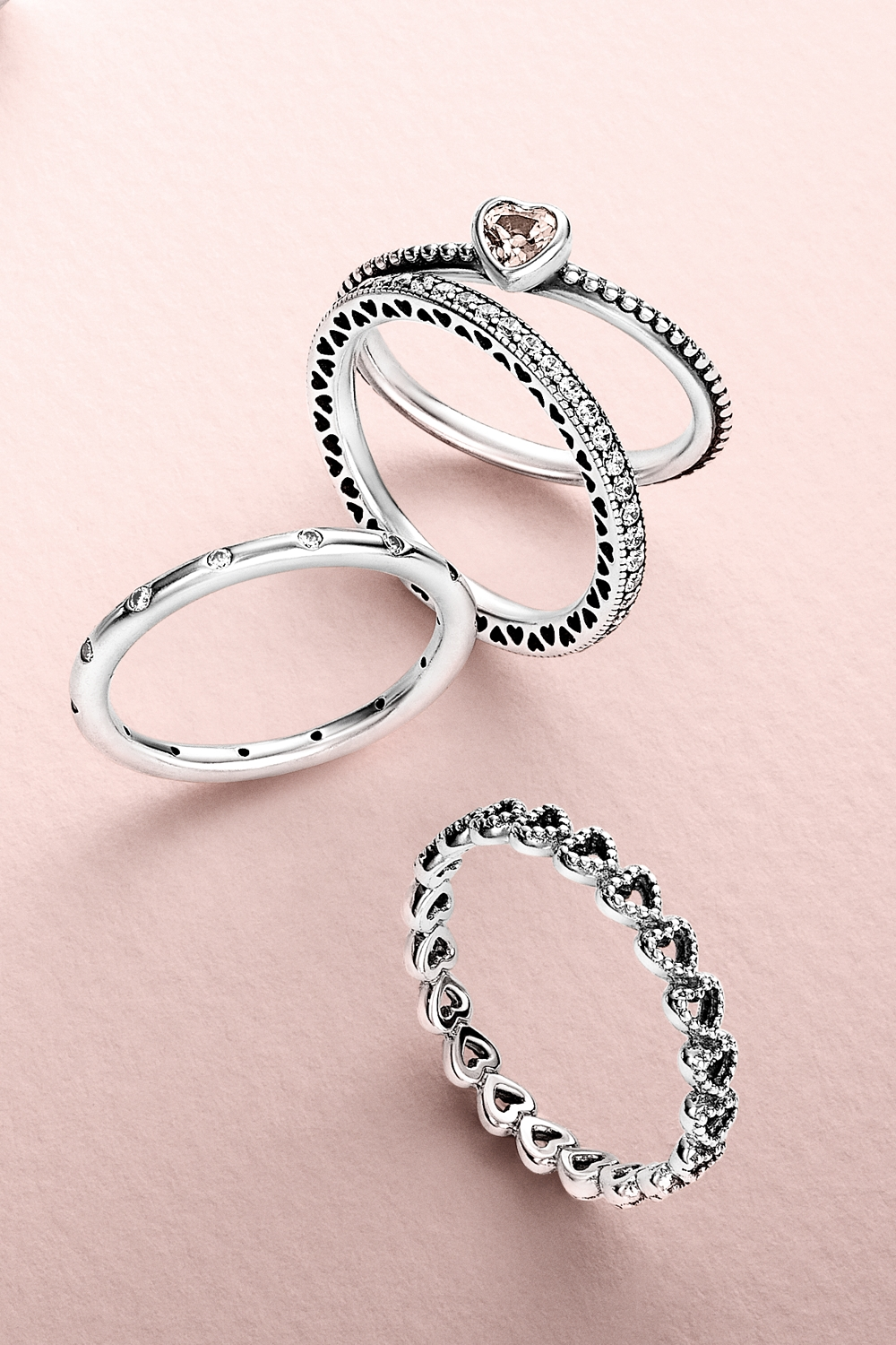 Create A Romantic Lookstacking Cute Heart Shaped Rings Pertaining To Latest Pandora Toe Rings Jewellery (View 3 of 15)