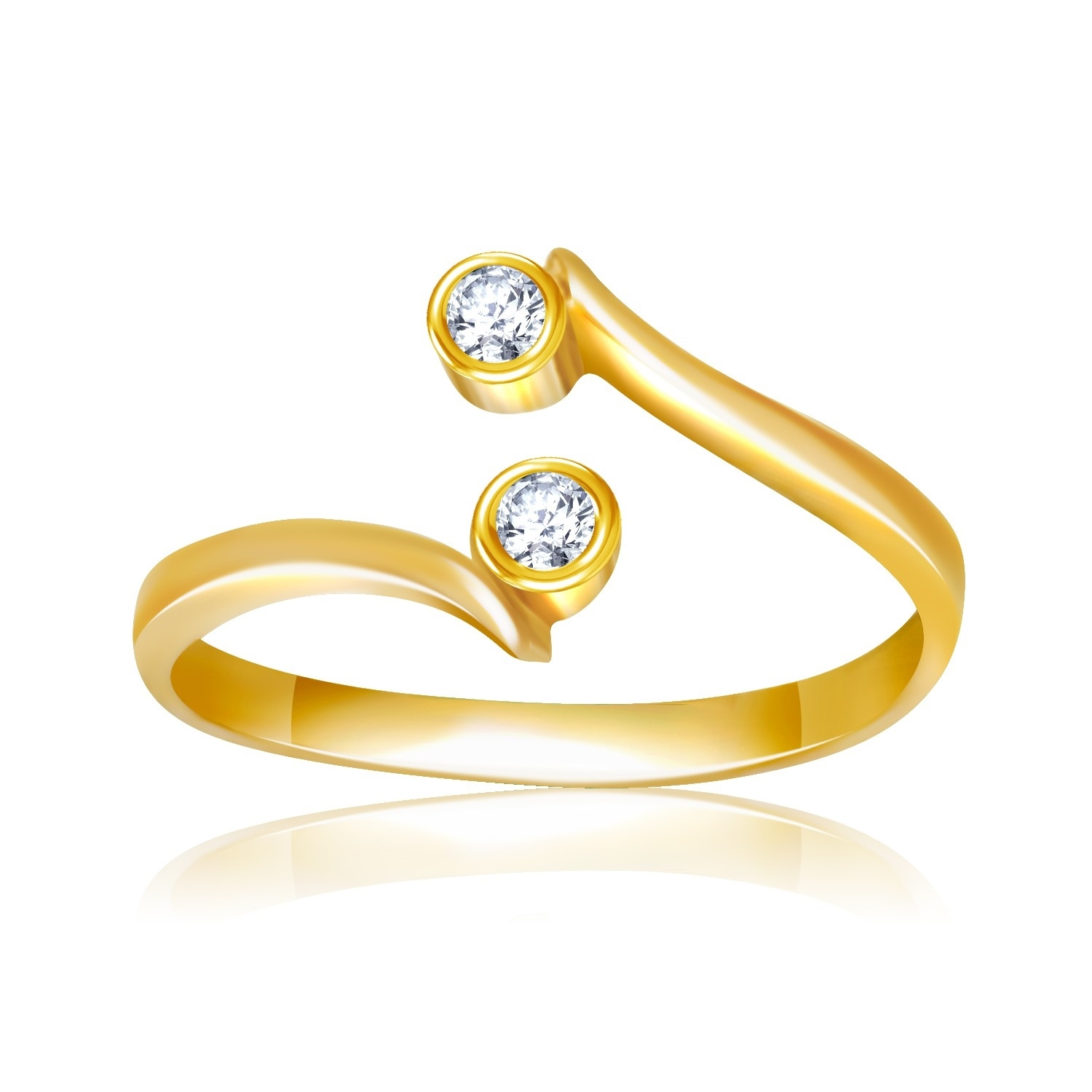 Cubic Zirconia Embellished Curved Toe Ring In 14K Yellow Gold Intended For Most Current Gold Diamond Toe Rings (Gallery 8 of 15)
