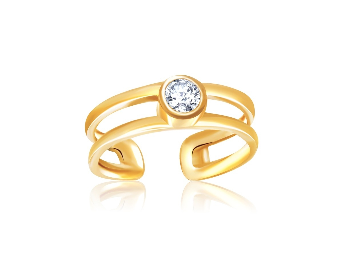 Cubic Zirconia Embellished Open Style Toe Ring In 14K Yellow Gold Intended For Most Popular Gold Diamond Toe Rings (View 9 of 15)