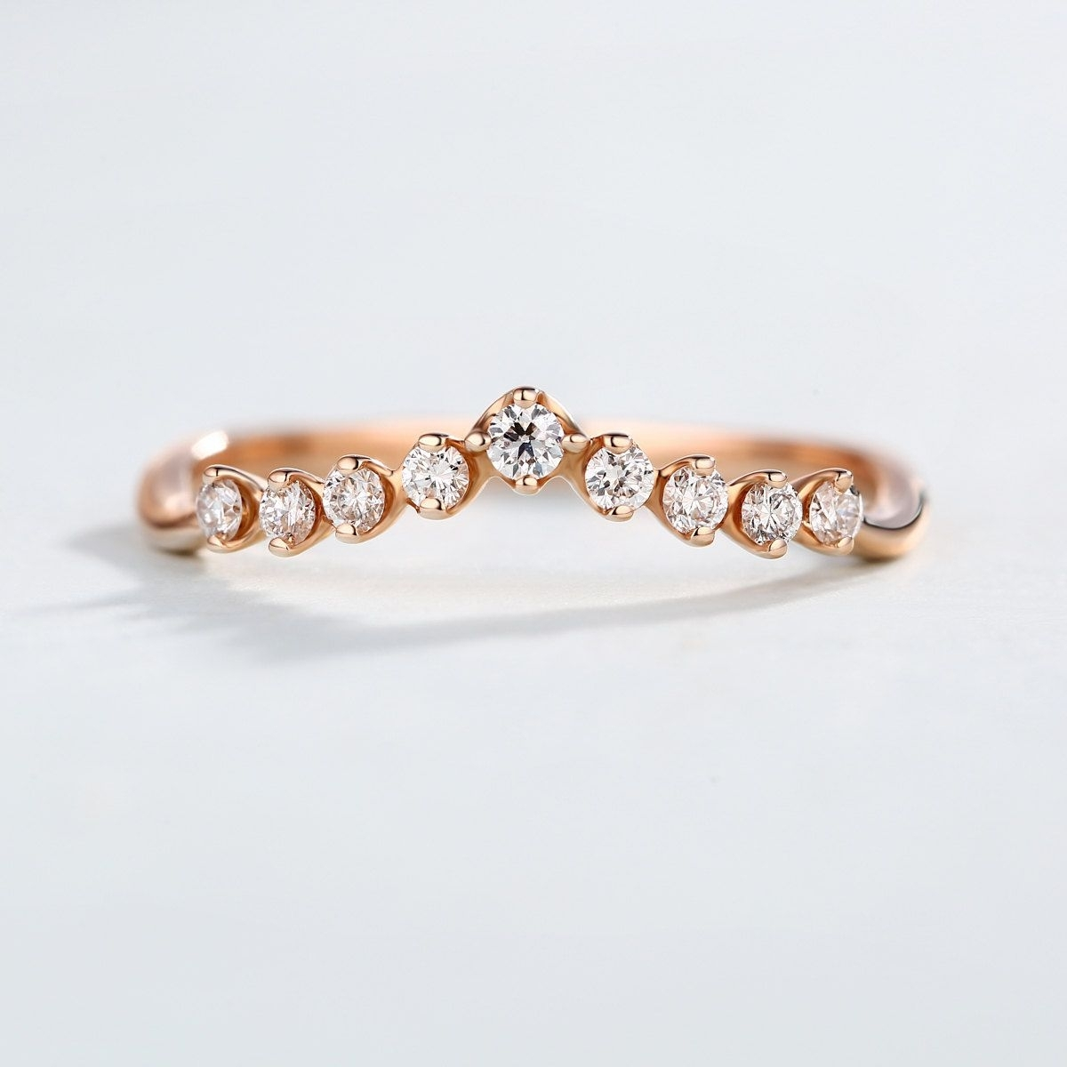 Curved Diamond Ring, Wedding Band 14K Rose Gold Ring Chevron Ring Intended For 2018 Chevron Band Rings (View 7 of 15)