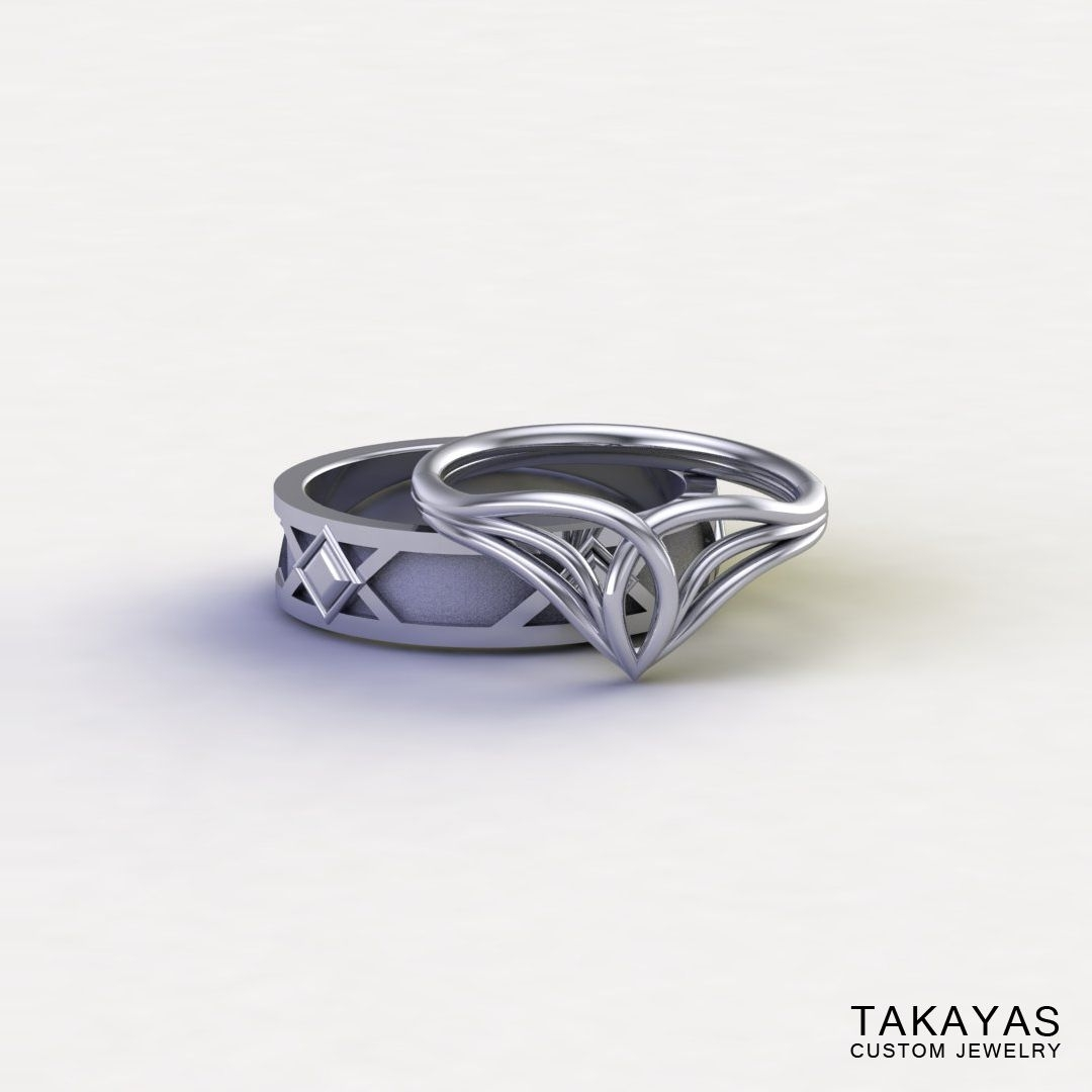 Custom 14K White Gold And Lord Of The Ring Inspired Elven Ladies Pertaining To Most Current Men's Chevron Rings (View 8 of 15)