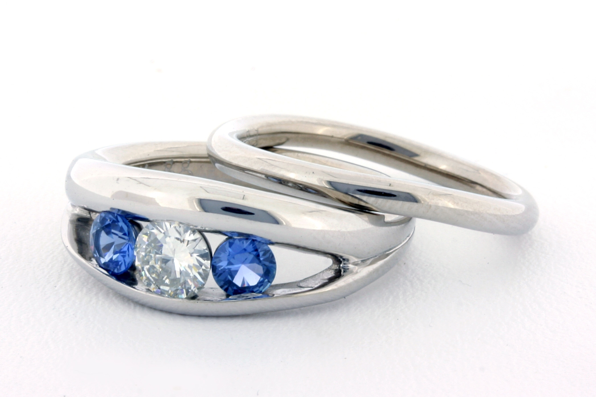 Custom Diamond And Yogo Sapphire Engagement Ring And Wedding Band Throughout Latest Chevron Sapphire Rings (View 4 of 15)
