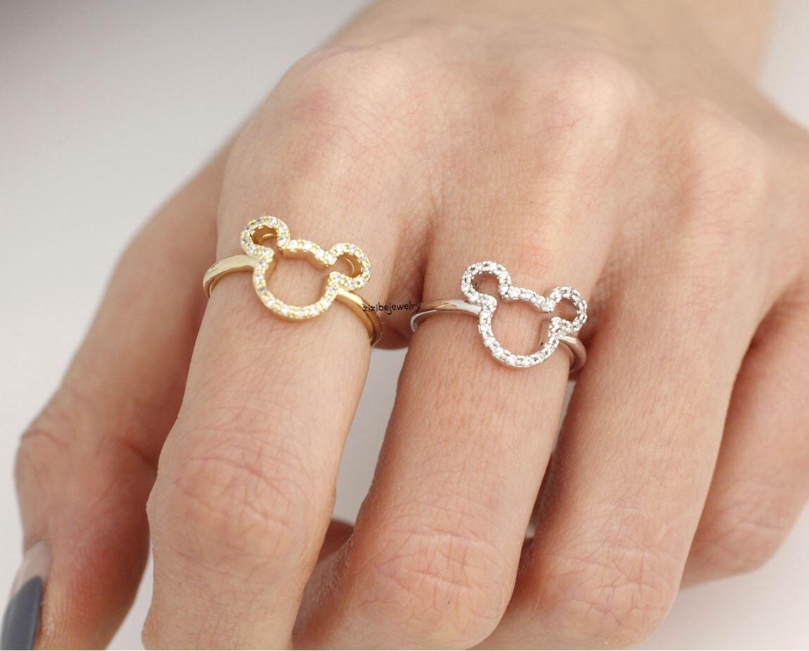 Cute Mickey Mouse Ring Detailed With Cz In Gold / Silver, R0315S With Regard To 2018 Mickey Mouse Toe Rings (View 5 of 15)