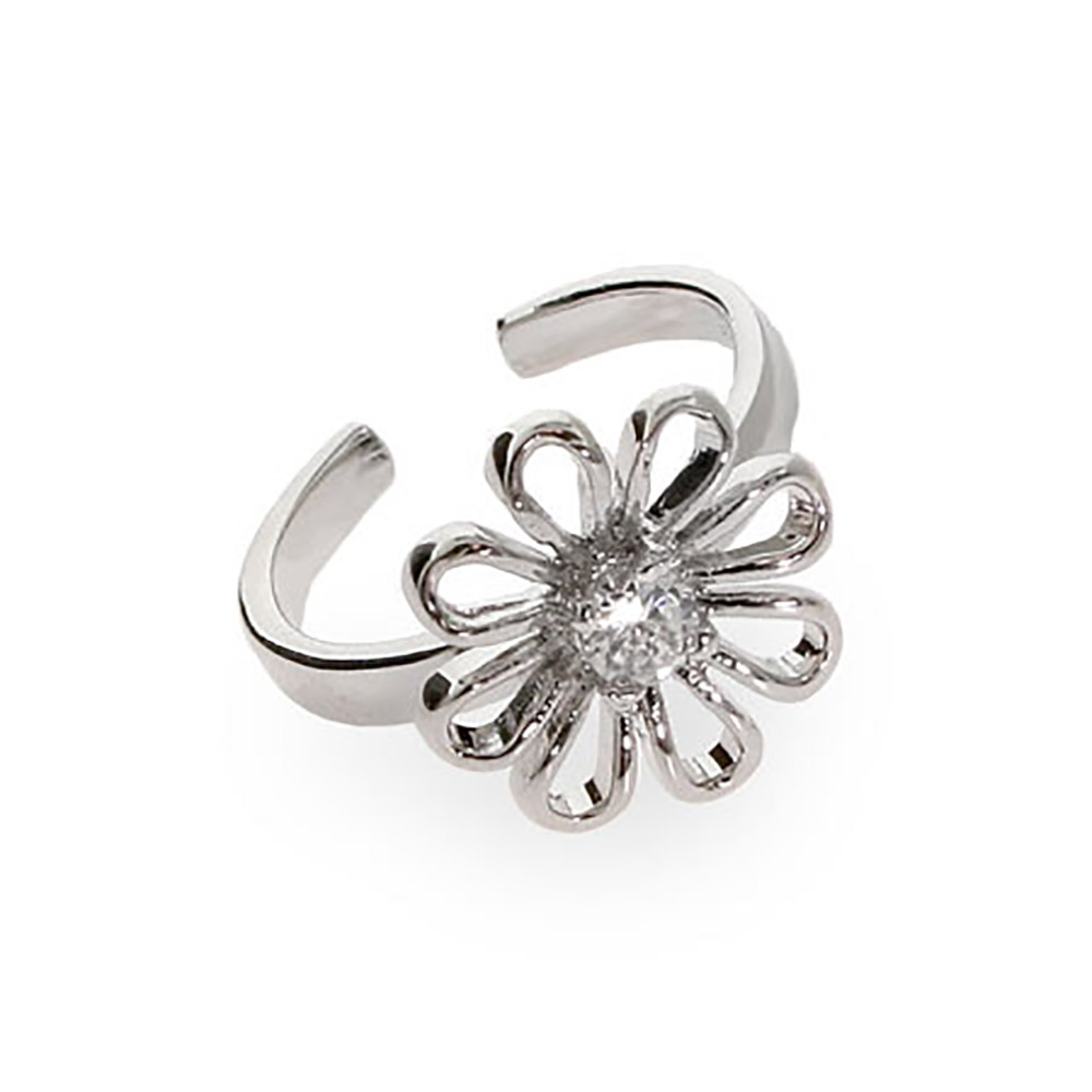 Daisy Sterling Silver Toe Ring | Eve's Addiction® With Best And Newest Toe Rings With Cubic Zirconia (View 9 of 15)
