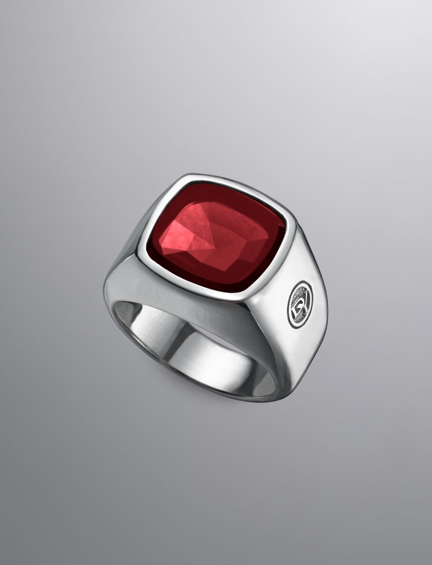 David Yurman, Colour Classic, Signet Ring, Garnet | Intense Within Latest Chevron Signet Rings (View 5 of 15)