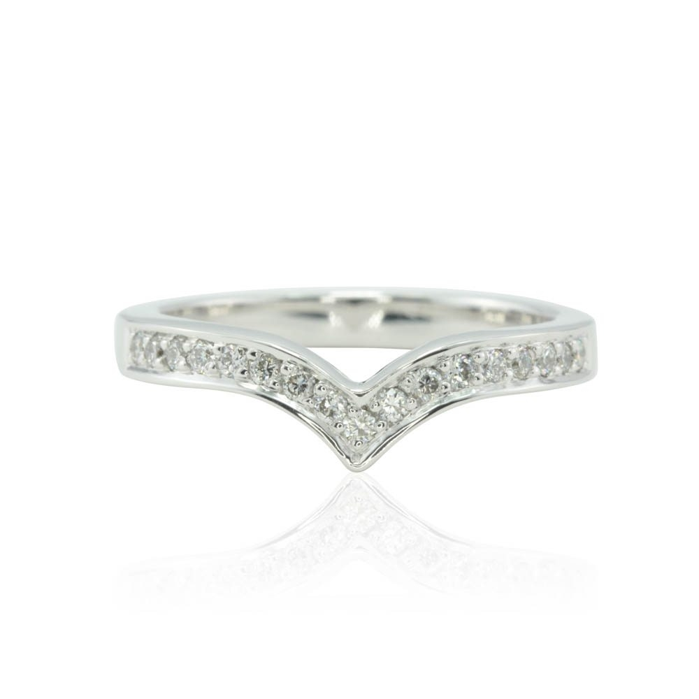 Diamond Contoured Wedding Band In 14K White Gold • Laurie Sarah For Most Current Chevron Rings White Gold (View 7 of 15)