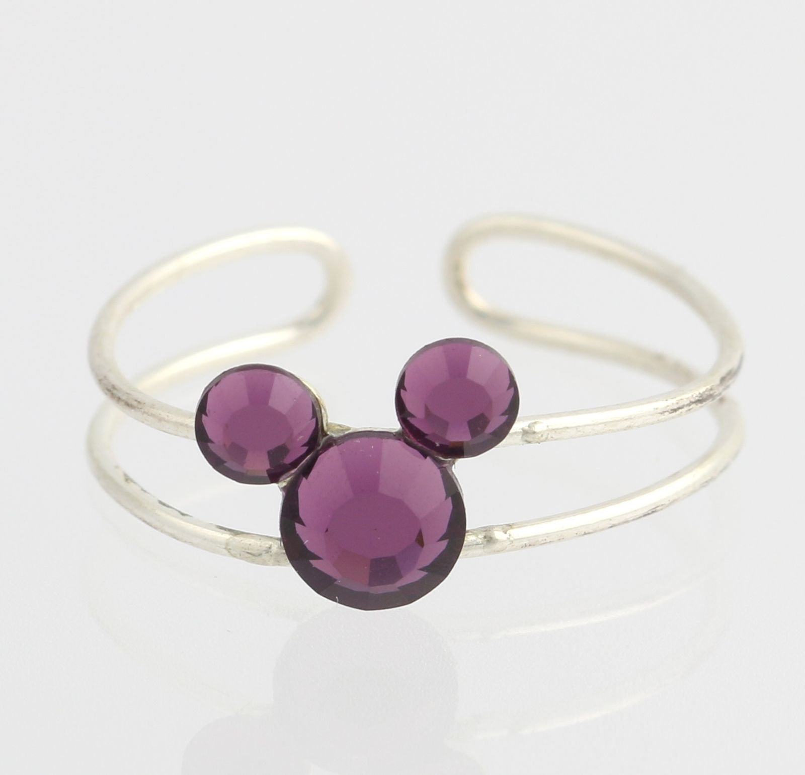 Disney Toe Ring – 925 Sterling Silver Purple Austrian Crystals For Most Recent Mickey Mouse Toe Rings (View 8 of 15)