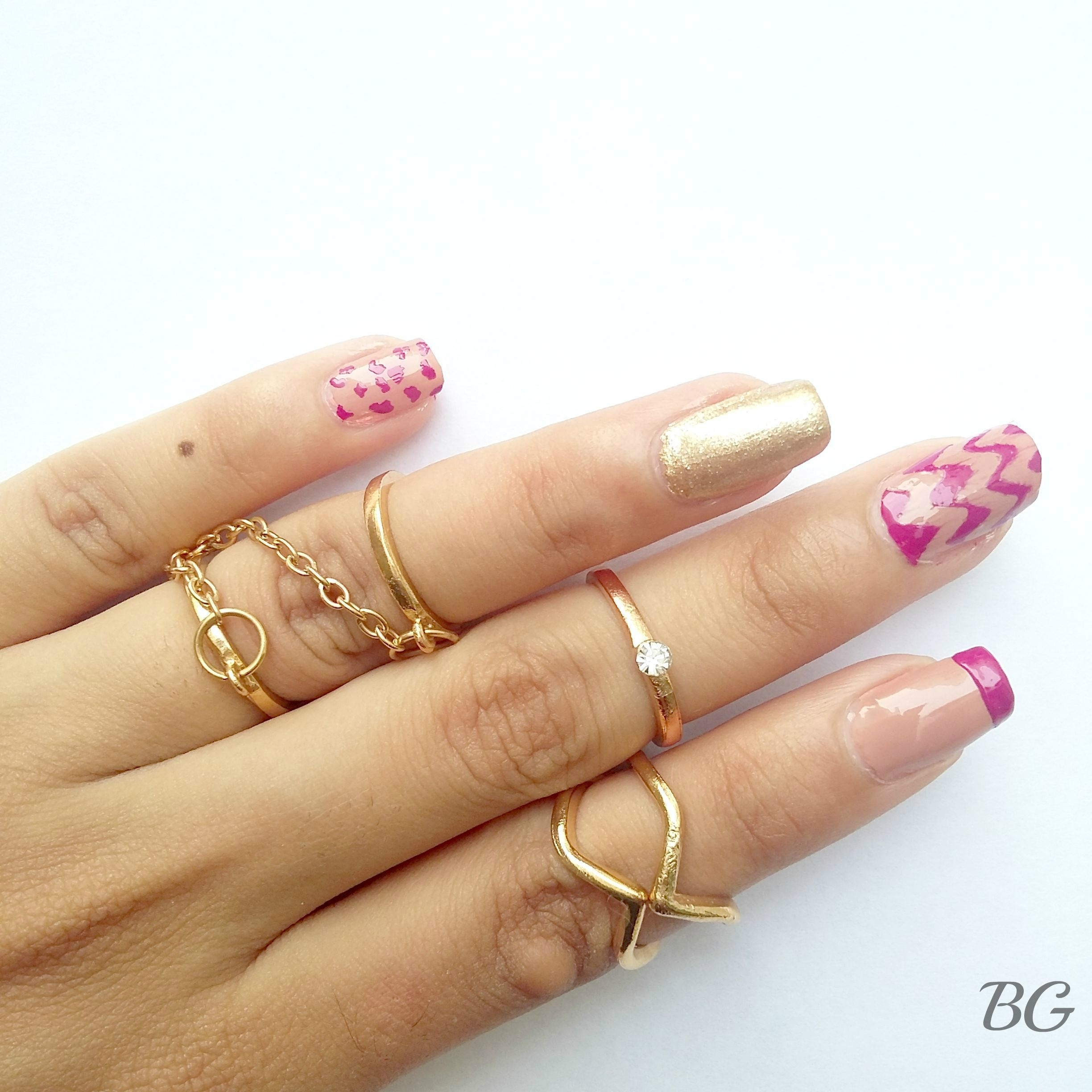 Diy Gold Chevron Nail Design Stepstep Nail Art Tutorial Pertaining To Best And Newest Diy Chevron Rings (Gallery 12 of 15)