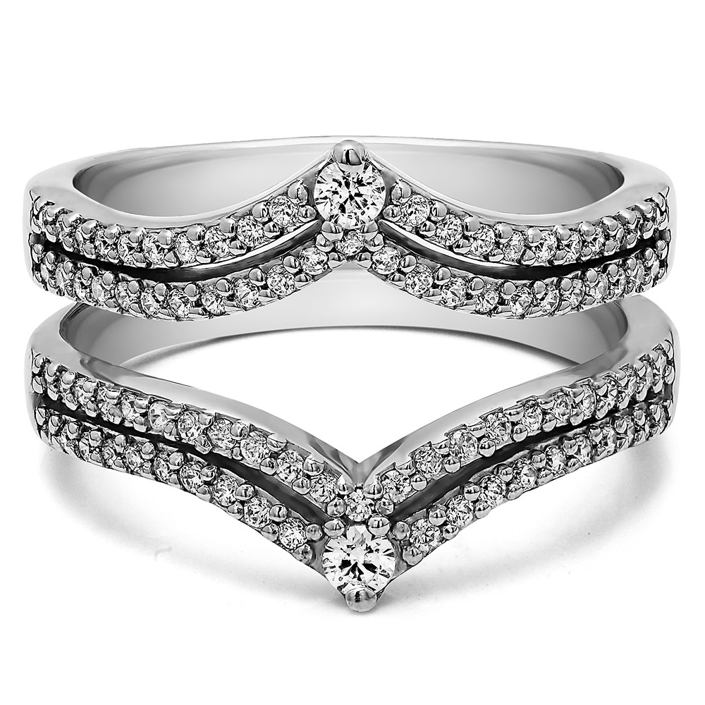 Double Row Chevron Style Anniversary Ring Guard (0.53 Carat) Pertaining To Recent Chevron Style Diamond Rings (Gallery 1 of 15)