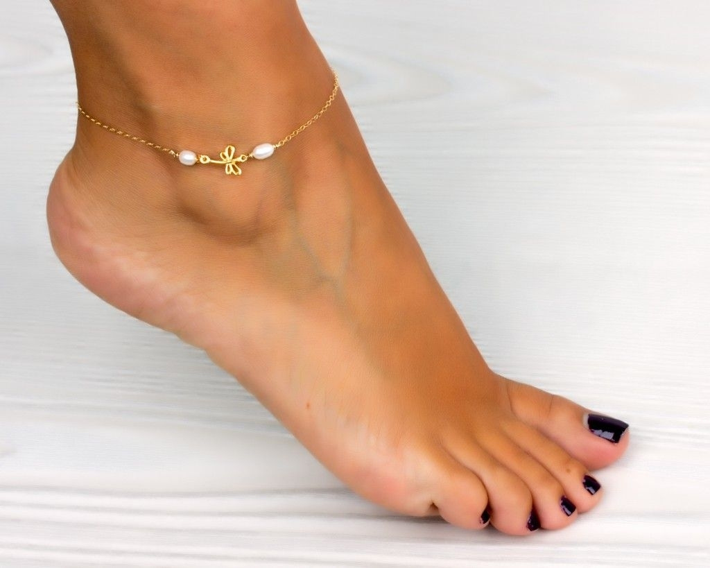 Dragonfly Anklet / Pearl Ankle Bracelet | Love! | Pinterest Regarding Most Current Ankle Bracelet Toe Rings (Gallery 21 of 25)