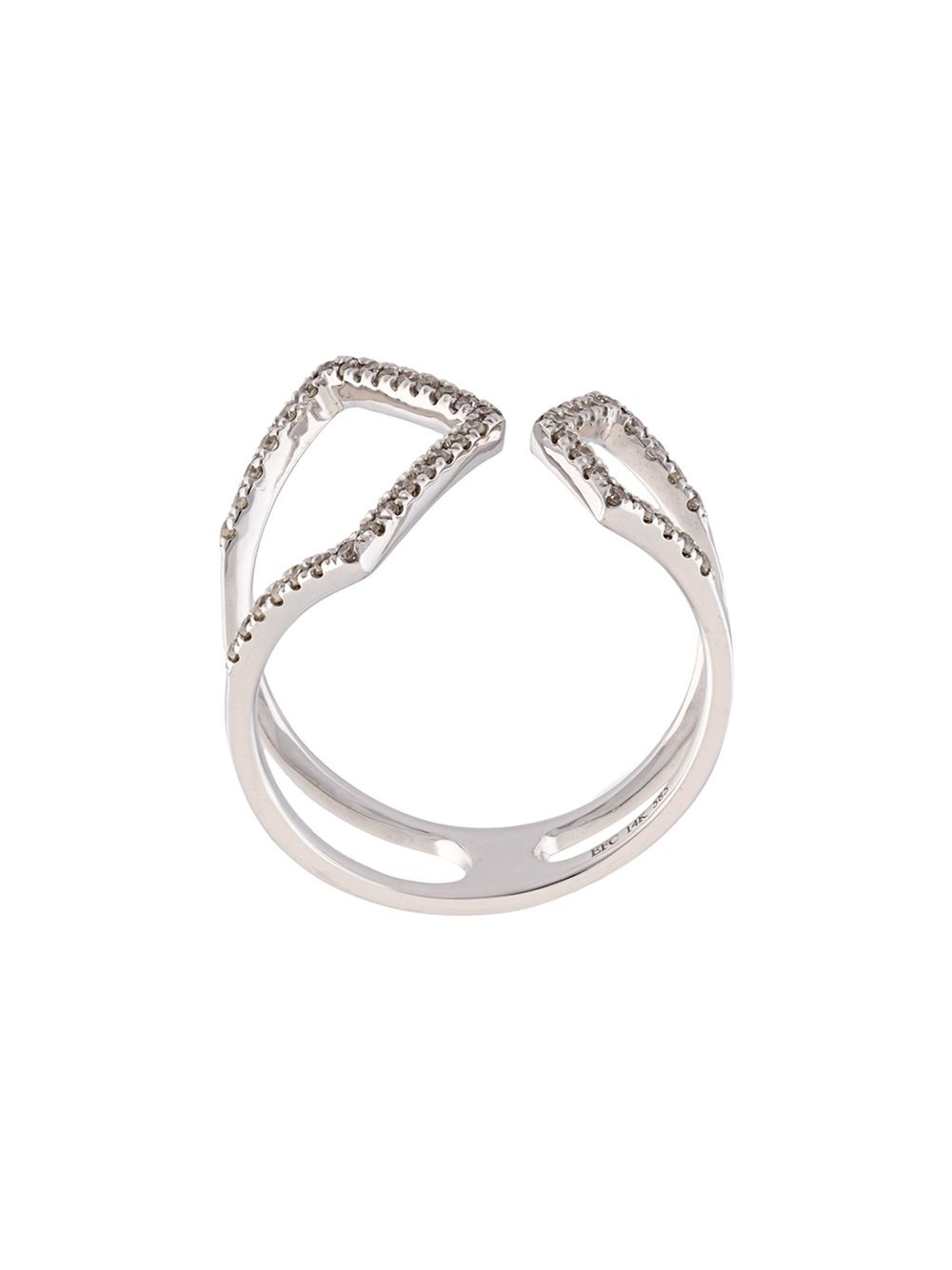 Ef Collection Diamond Split Chevron Ring White Gold Women Within Newest Chevron Rings White Gold (View 10 of 15)