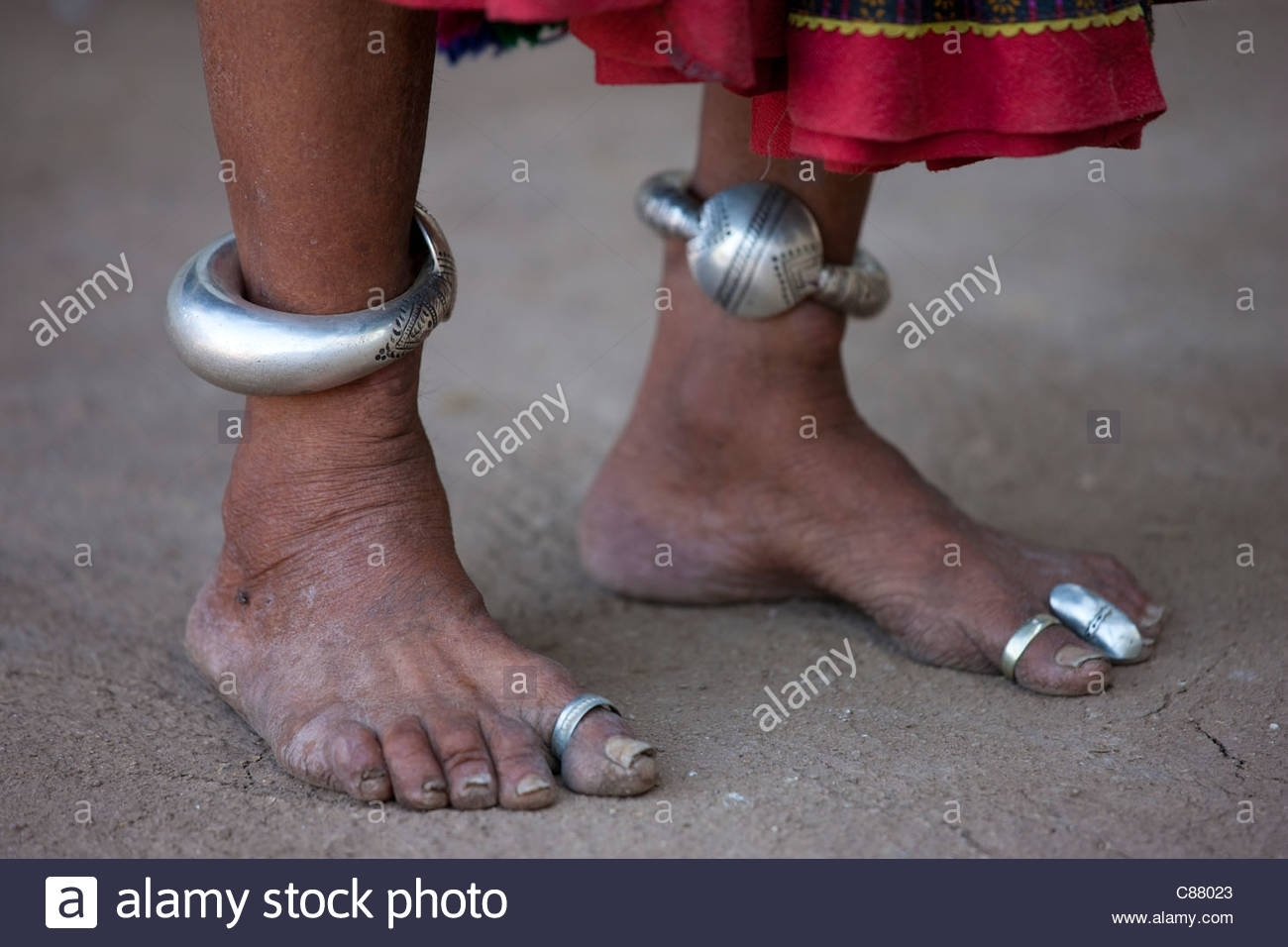 Elderly Indian Woman With Ankle Bracelets And Toe Rings At Home In Throughout Newest Ankle Bracelet Toe Rings (View 16 of 25)