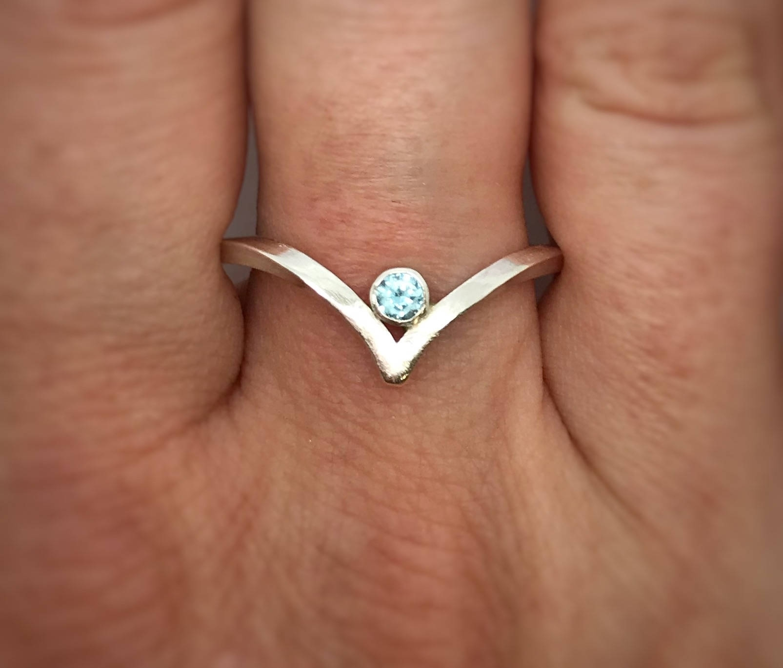 Engagement Ring – Chevron Ring – Silver V Ring – Stacking Ring Intended For 2017 Silver Chevron Rings (View 13 of 15)