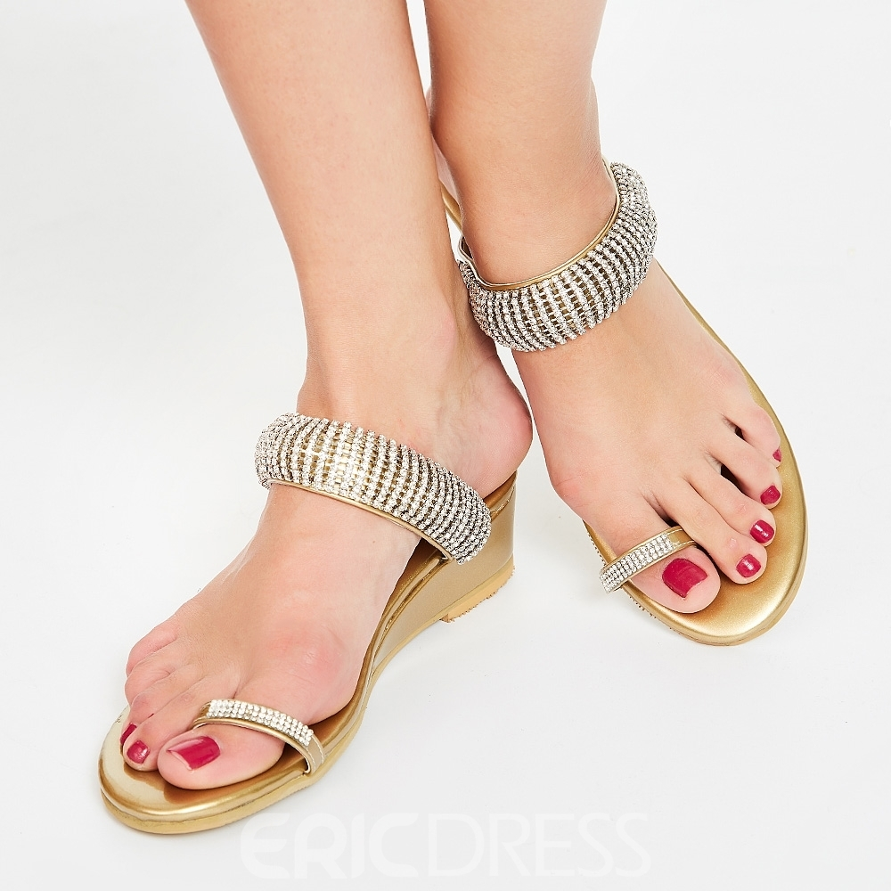 Ericdress Amazing Rhinestone Toe Ring Flat Sandals 10969658 Pertaining To Most Recent Sandals Rhinestone Toe Rings (View 4 of 15)