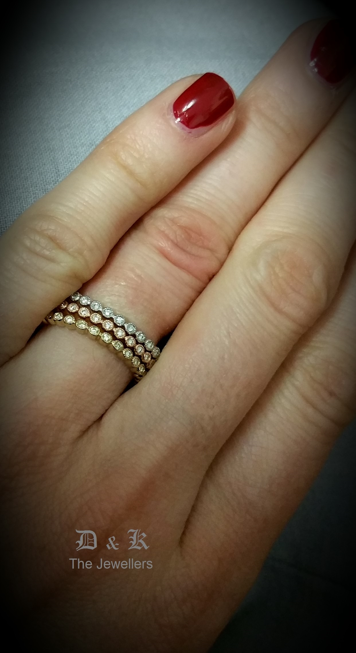 Eternity Ring Combining Rose Gold. Yellow Gold And White Gold Within Most Up To Date Three Stackable Chevron Diamond Rings (Gallery 12 of 15)