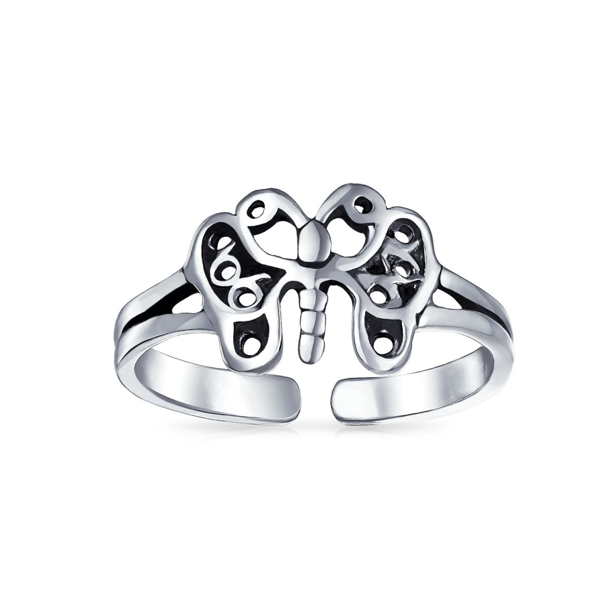 Filigree Butterfly Toe Ring Adjustable Sterling Silver Midi Rings In Most Popular Butterfly Toe Rings (View 12 of 15)