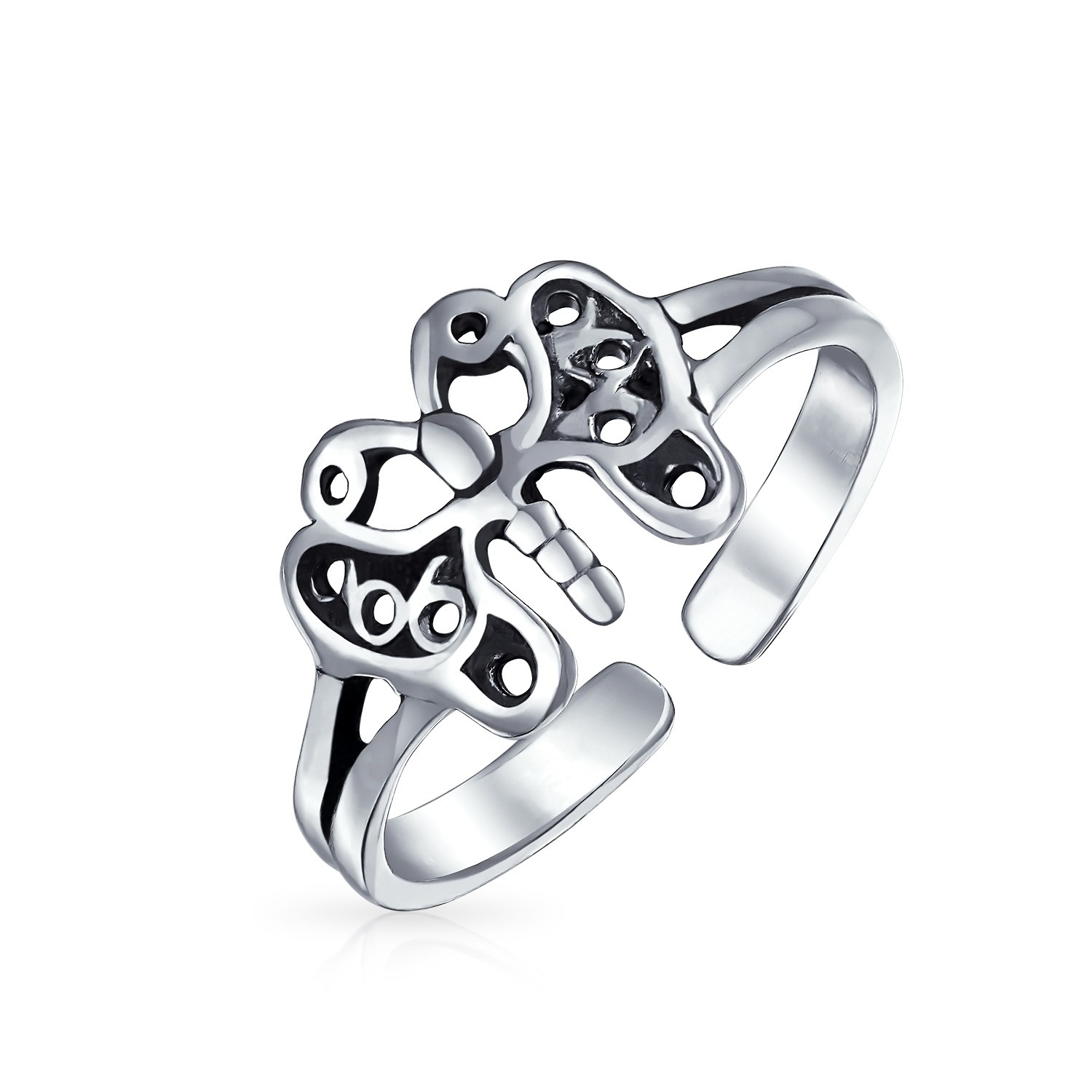 Filigree Butterfly Toe Ring Adjustable Sterling Silver Midi Rings Throughout Most Current Platinum Toe Rings (Gallery 4 of 15)
