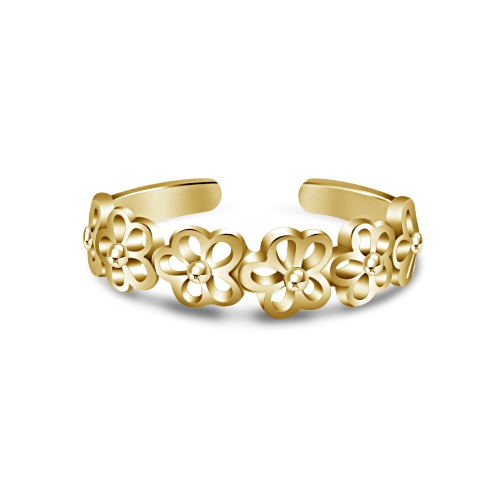 Floral Flower Design Adjustable Toe Ring For Women's  (View 9 of 15)