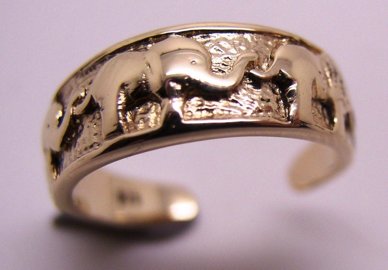 Genuine New Solid Dome 9Ct 9Kt Gold Elephant Toe Ring – Kaedesigns Within Latest Elephant Toe Rings (View 9 of 15)