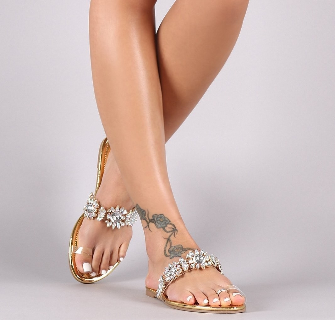 Gold Crystal Embellished Clear Toe Ring Sandal – Atlanta Shoe Inside Recent Sandals Rhinestone Toe Rings (View 6 of 15)